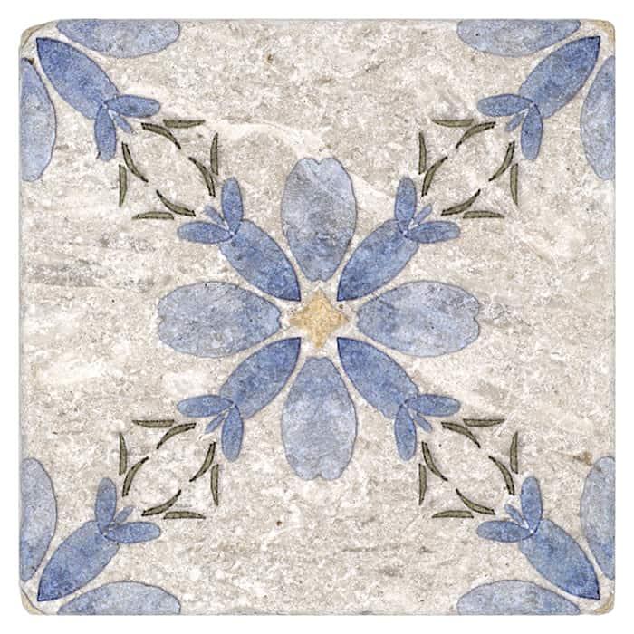 Primrose Pattern (French Blue) on Perle Blanc