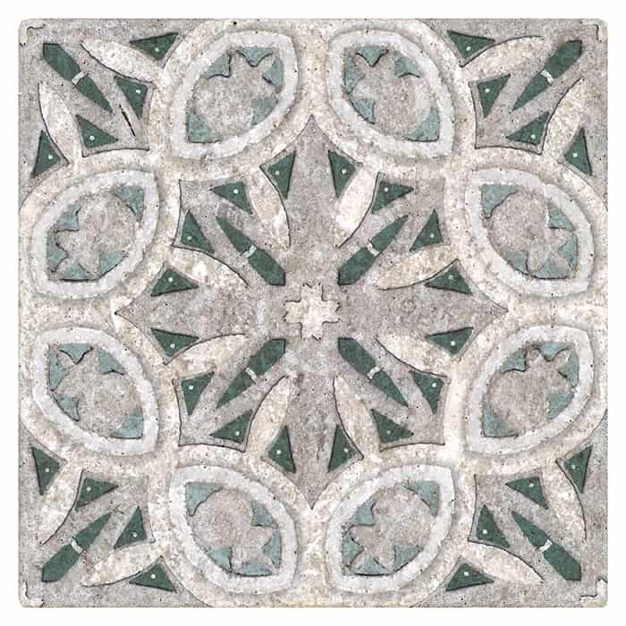 Mullholland Pattern Tile green and blue on limestone