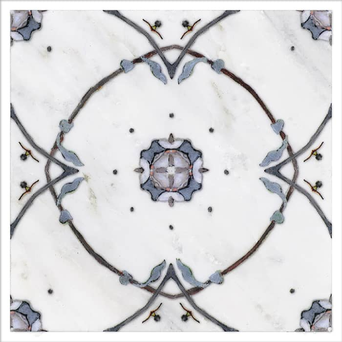 Stella Pattern (True Blue) on Carrara