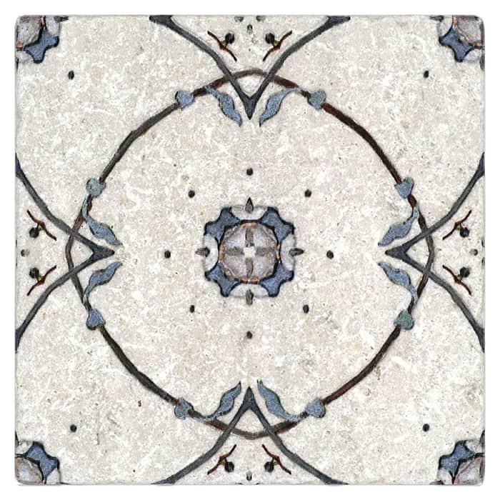 Stella Pattern (True Blue) on Perle Blanc