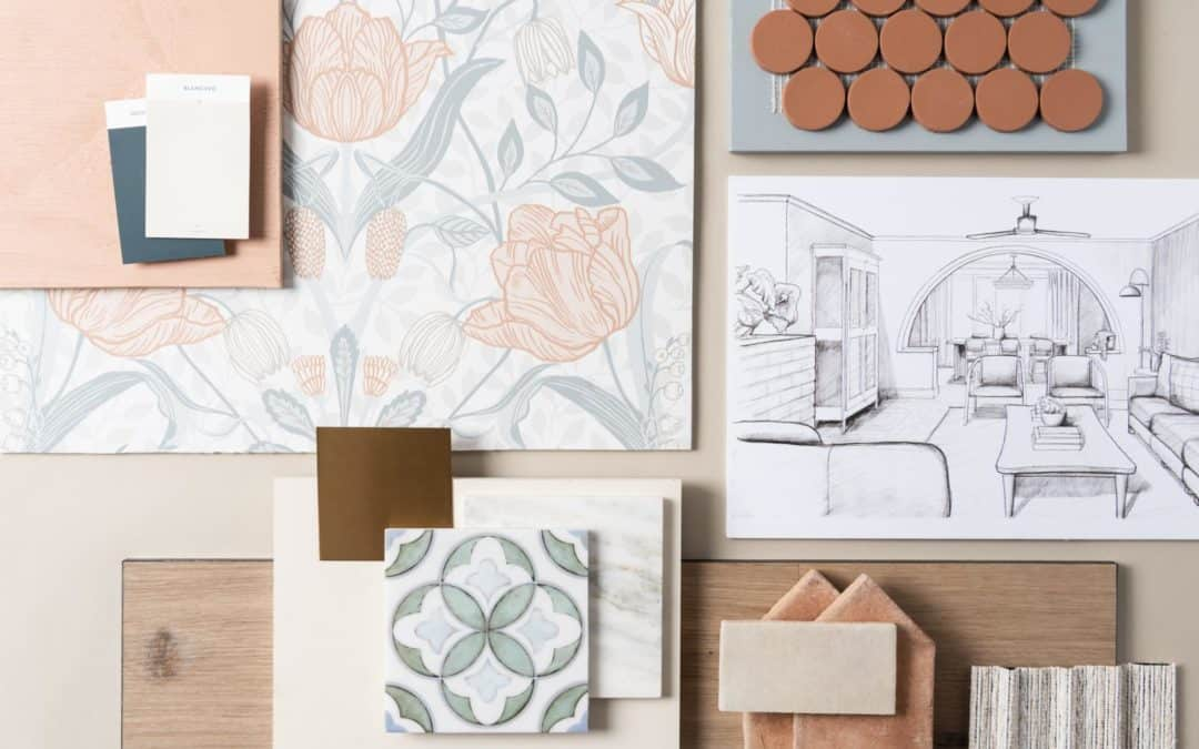 Joanna Gaines fixer upper mood board with mulholland patterned tile