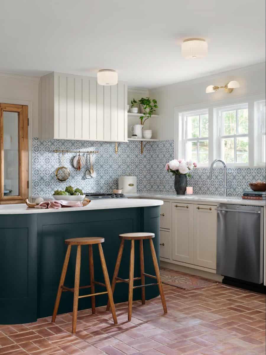 Mullholland patterned tile in cypress on honed carrara in fixer upper kitchen backsplash