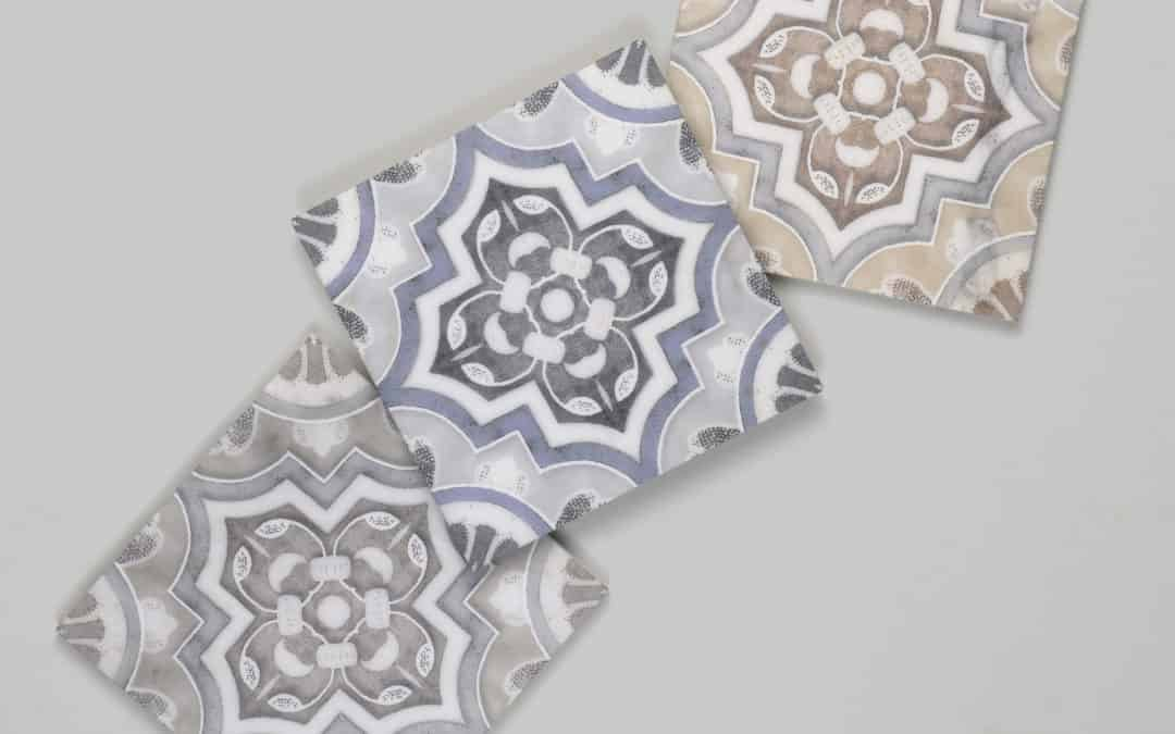 Del Rey patterned tile on honed carrara from quick-ship program
