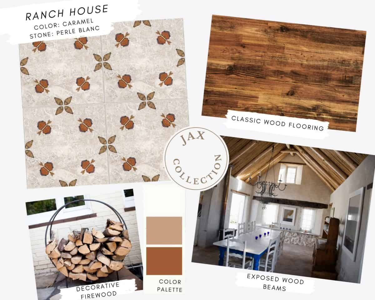 Jax patterned tile collection in carmel on perle blanc mood board