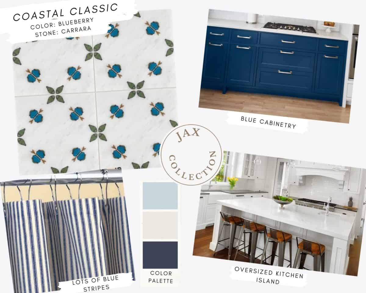 Jax collection in Blueberry on Carrara mood board