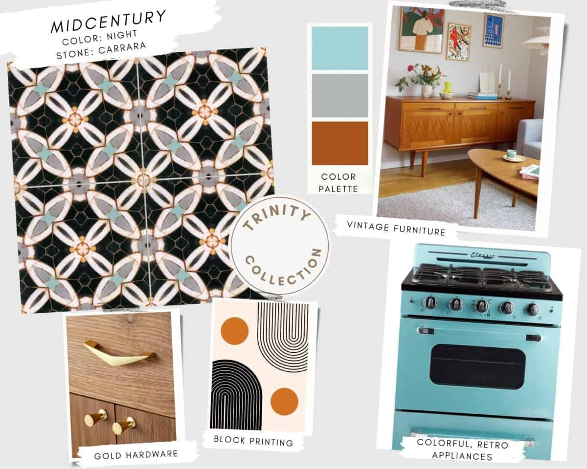 Trinity tile collection Midcentury mood board