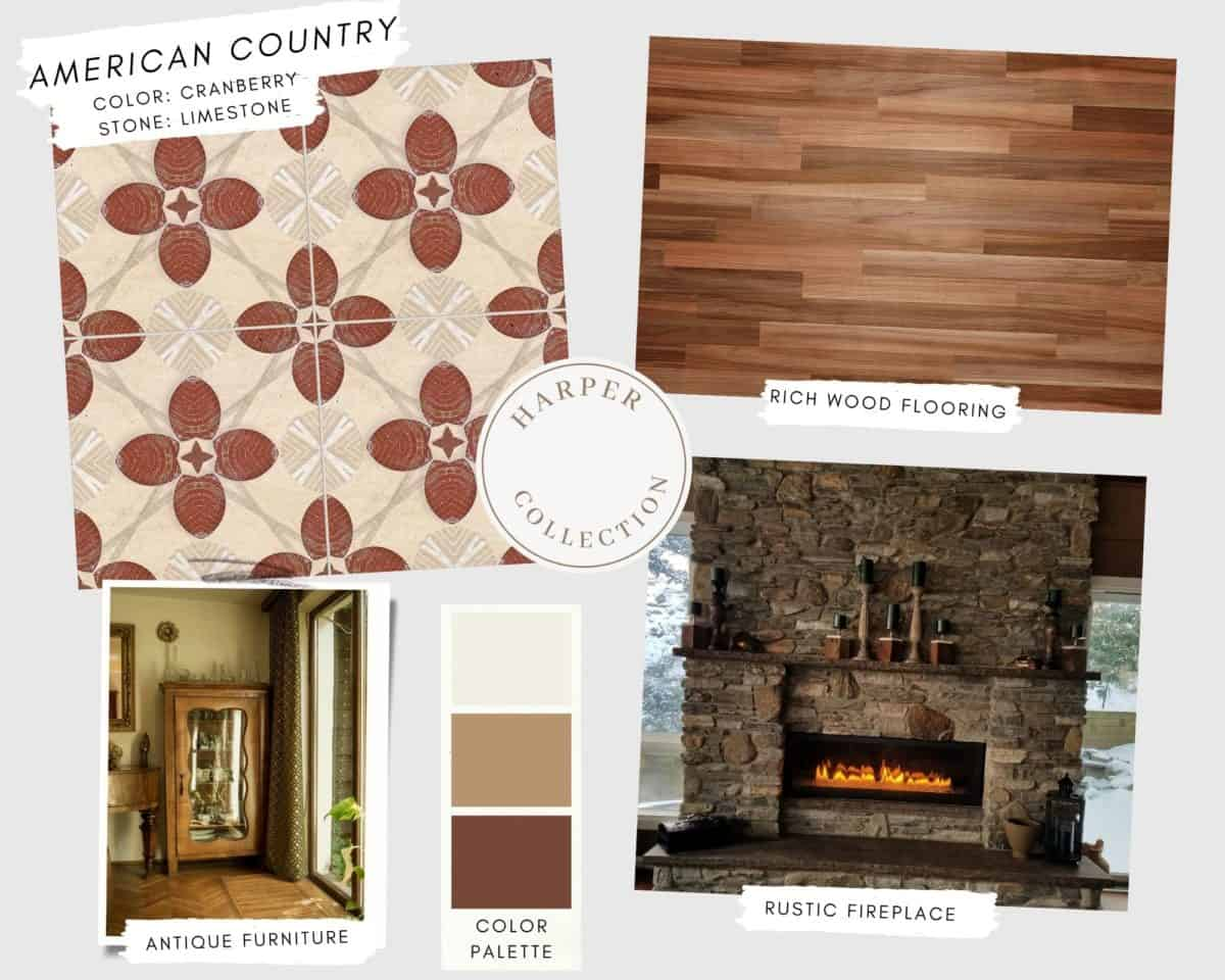 Harper patterned tile in Cranberry on limestone in American country mood board