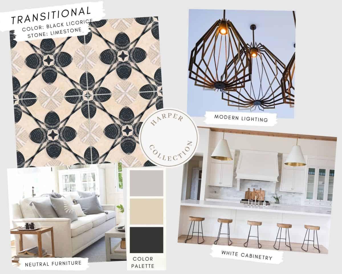 Harper patterned tile in black licorice on limestone in transitional mood board