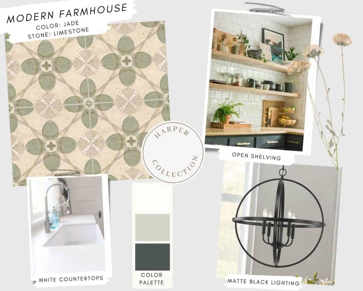 Harper patterned tile from quick-ship program in Jade on limestone in modern farmhouse mood board