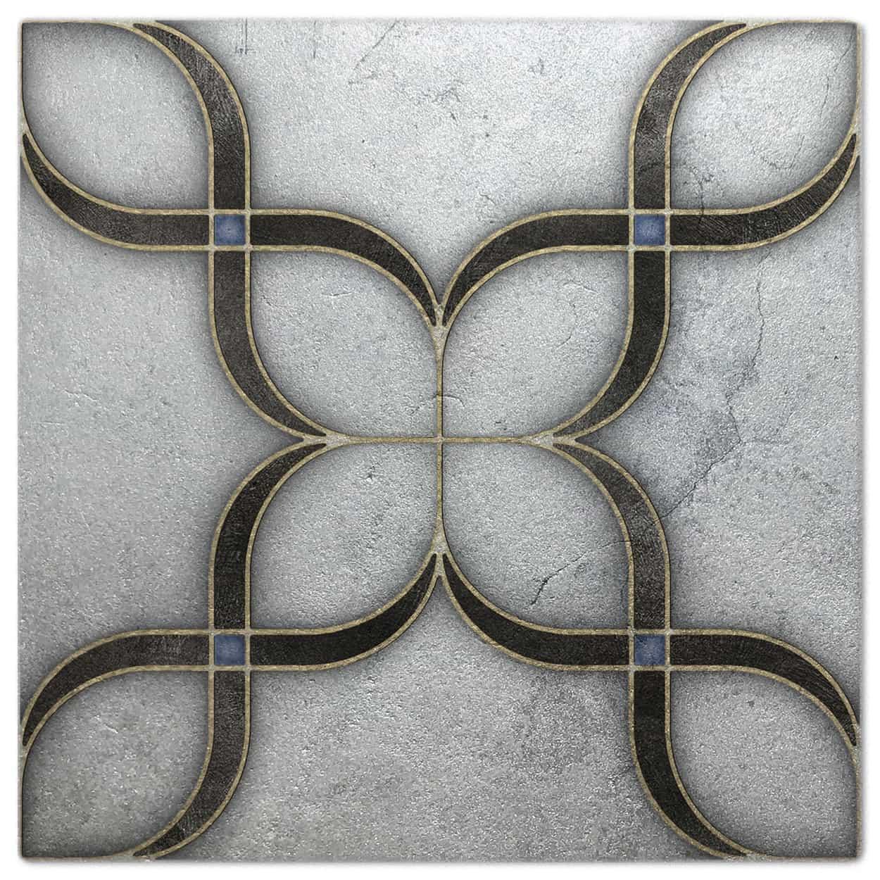 Crofton Onyx Silver Luster Pattern Tile