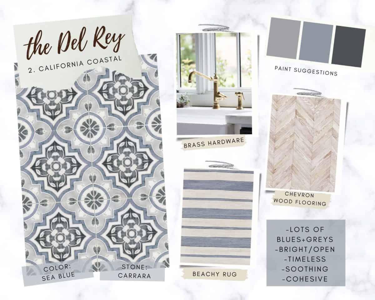 Del Rey on Carrara in Sea Blue mood board