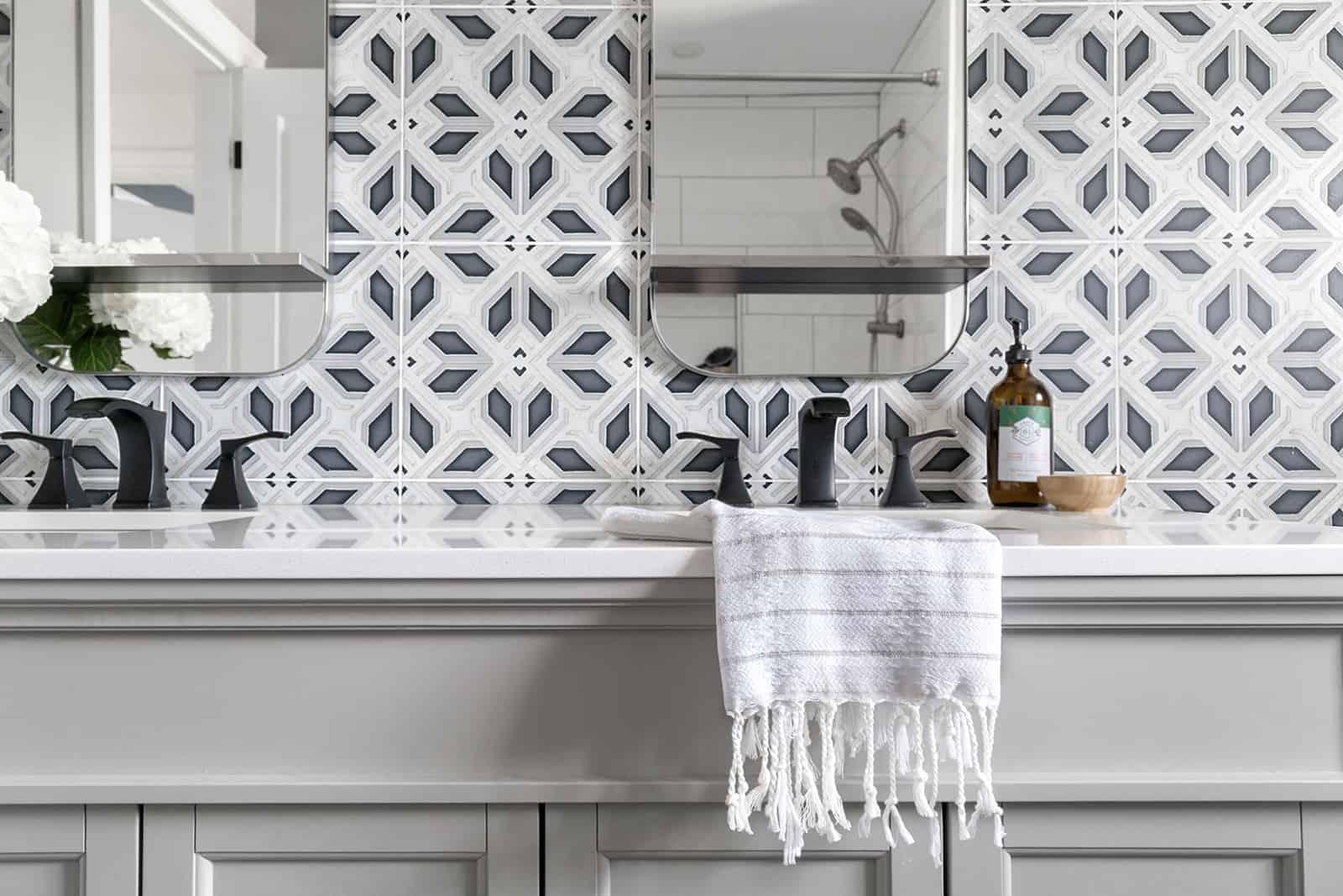 Avery - HR - Carrara - Jaclyn Hill - Bathroom Wall Vanity Close Up