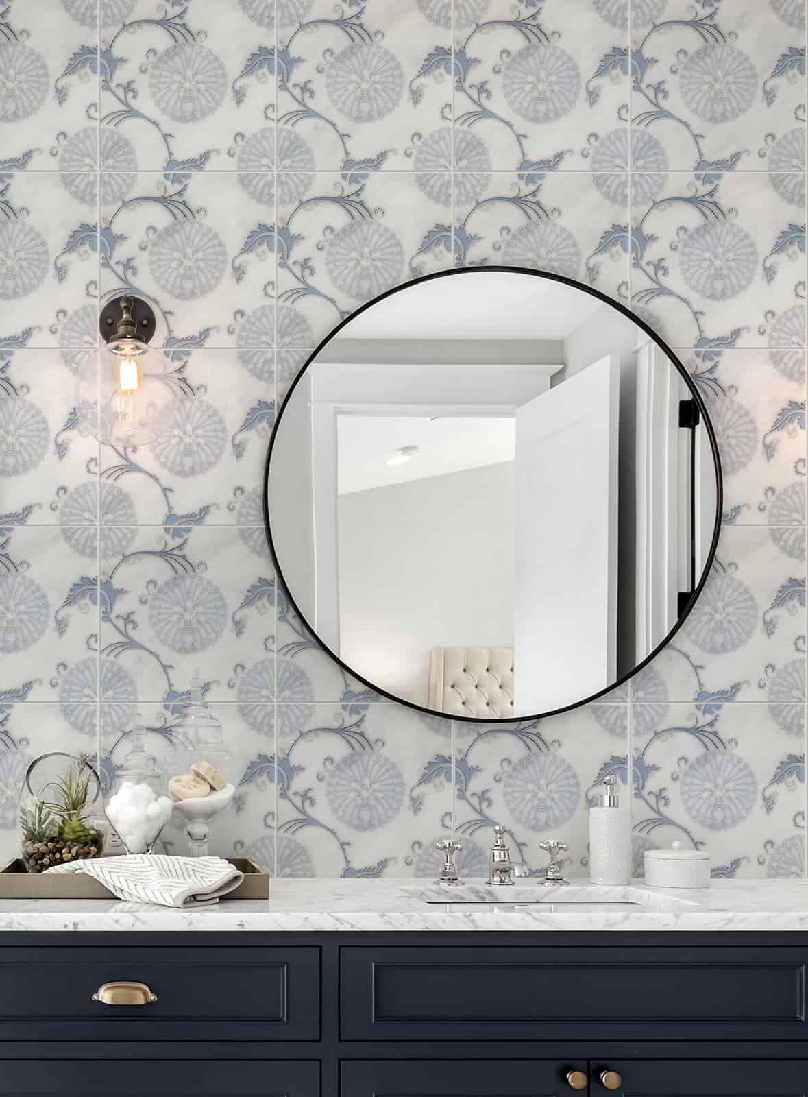 Eliana - HR - Dusty Blue - Carrara - 12x12 - Bathroom Vanity Backsplash