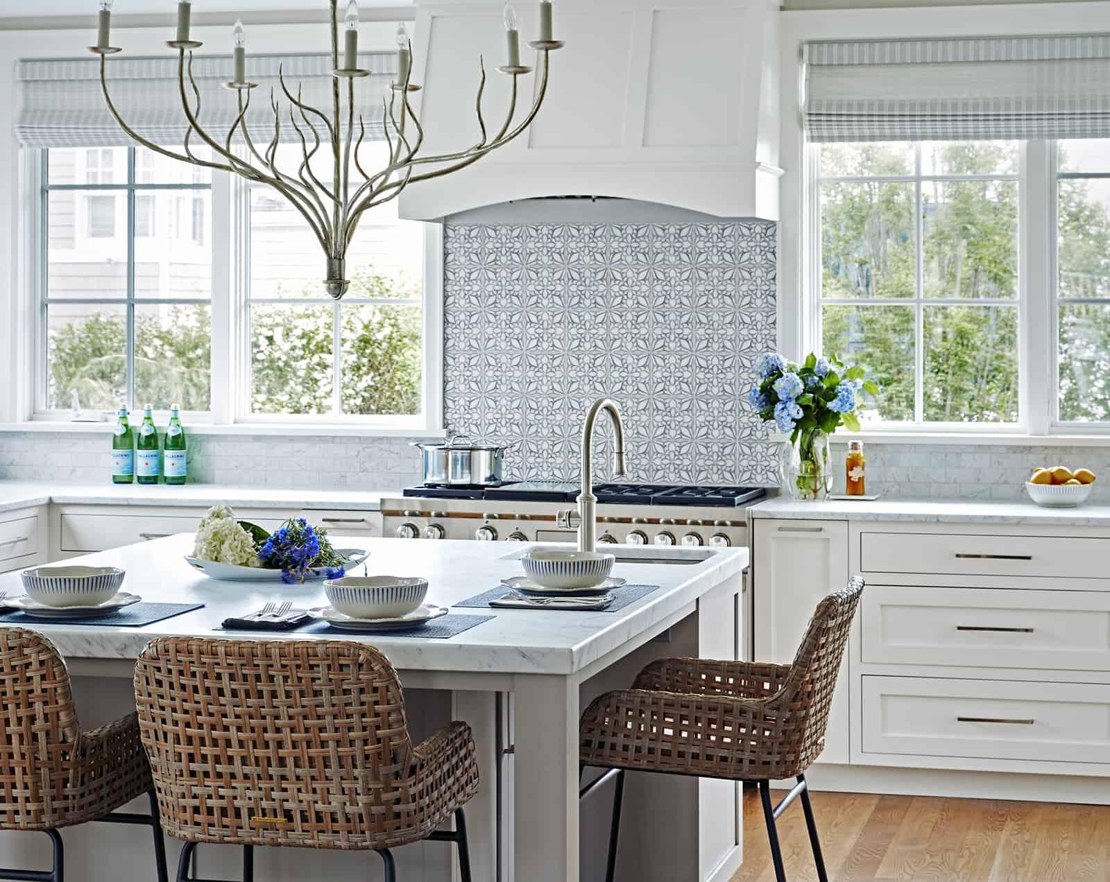 Petals - HR - Blue - Carrara - Karen Berkemeyer Kitchen Backsplash Installation