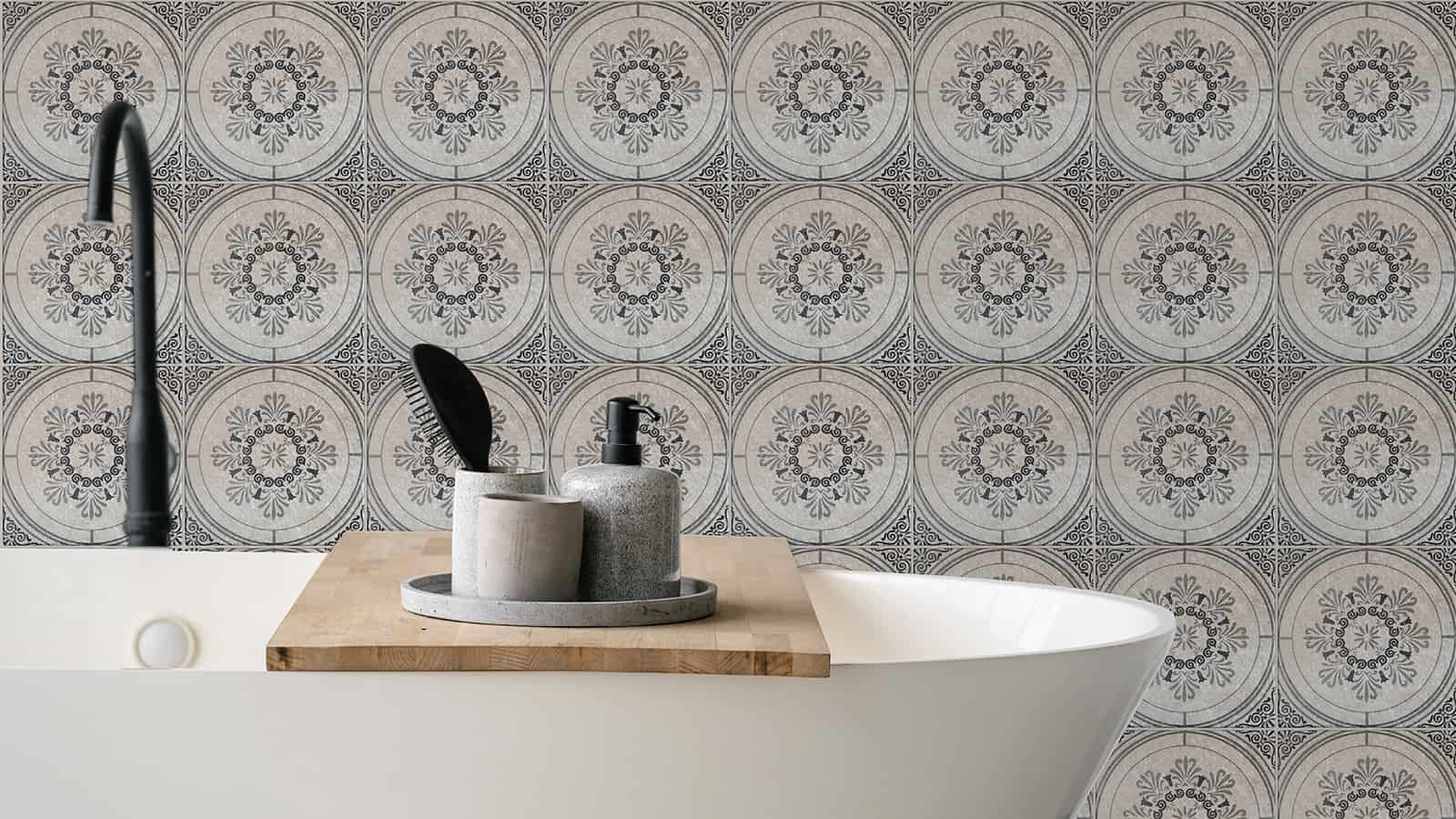 Vecina (Charcoal) Perle Blanc Bathroom Wall