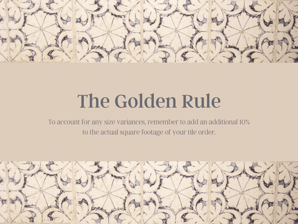 Nominal Sizes The Golden Rule for Extra Material